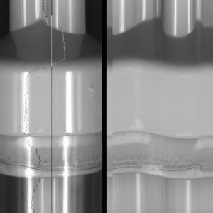 Cappuccio storto a sinistra, a destra sviluppo  del prodotto con telecamera lineare