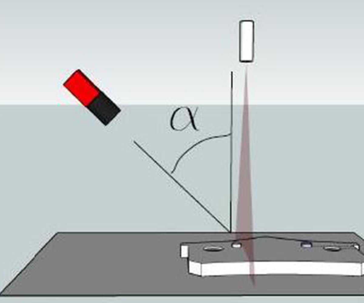 Fig. 2 - Triangolazione con angolo α